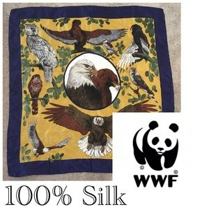 WWF Silk Large Scarf with Birds!